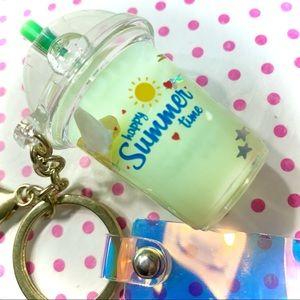 Cute Green Liquid Shaker Banana Keychain Bag Charm